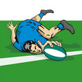 Rugby player scoring a try Royalty Free Stock Photography