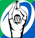 Rugby player throw line-out ball Stock Photos
