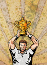 Rugby player trophy world cup Stock Image