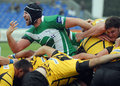 Rugby players fight for ball pictured in action during the amlin challenge cup game between bucharest wolves and newcastle falcons Stock Photography