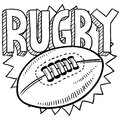 Rugby sports sketch Royalty Free Stock Image