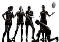 Rugby women players team silhouette