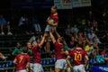 Rugbyaktion von teams highschool spieler der reifen jungen männer zwischen paul roos gymn und glenwood jungen highschool am Stockfoto