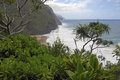 Rugged Coastline and Cliffs along the Kalalau Trail of Kauai, Hawaii Royalty Free Stock Photo