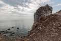 Rugged landscape and rocky cliff at the shore of wide angle shot a koh lanta national park thailand Royalty Free Stock Photography