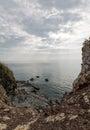 Rugged landscape at the shore of koh lanta wide angle shot seaside rocks national park area thailand Royalty Free Stock Photo