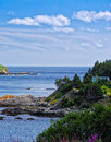 Rugged newfoundland coastline with a blue house and green island Royalty Free Stock Image