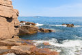 Rugged shore this extremely coastline is in the vicinity of the thunderhole at acadia national park Royalty Free Stock Images