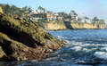 Rugged shoreline and cliff side homes in South Laguna Beach, California Royalty Free Stock Photo