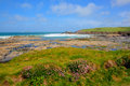 Rugged UK coast Newtrain Bay North Cornwall near Padstow and Newquay Royalty Free Stock Photo