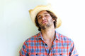 Rugged young man wearing cowboy hat Royalty Free Stock Photo