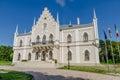 Ruginoasa neogothic palace in moldavia region of romania alexandru ioan cuza s a style on a sunny summer day Royalty Free Stock Photo