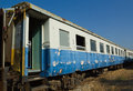 Ruin and abandoned bogie third class carriage btc of state railway of thailand srt at sila att railway station uttaradit province Stock Images