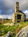 Ruin on bodmin moor a ruined building at carbilly quarry in cornwall Royalty Free Stock Images