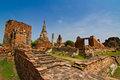The Ruin of Buddha status and temple of wat mahathat Royalty Free Stock Images