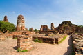 The Ruin of Buddha status and temple of wat mahathat Stock Image