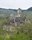 Ruin in the eifel vulkan wich is a region mountains germany Royalty Free Stock Photo