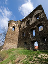 Ruin of european gothic castle in ricany u prahy czech republic Stock Photos