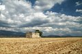 Ruin in the fields provence france harvested field Stock Images