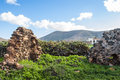 Ruin on fuerteventura landscape central la oliva hills blue sky vegetation house Stock Image