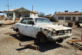 Ruin of old car in Humberstone, Chile Royalty Free Stock Photo
