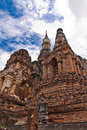 Ruin pagodas in sukhothai tilted left Stock Photos