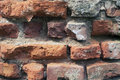 Ruined brick wall closeup fragment of old Royalty Free Stock Images