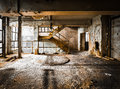 Ruined brick wall of old factory spaces inside Royalty Free Stock Photo