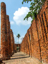 Ruined castle the old brick column and brick wall at ayutthaya historical park Royalty Free Stock Photography