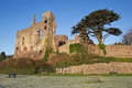 Ruined castle walls medieval fortress against a blue sky Royalty Free Stock Image