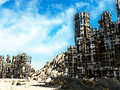 Ruined city grim fantastic landscape with Royalty Free Stock Photo