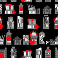 Ruined city seamless pattern ruins of buildings fire in homes background war ravaged Royalty Free Stock Photography
