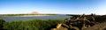 Ruined fortress at the Sai island, Nile river, Sudan Royalty Free Stock Photo