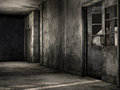 Ruined hallway in an old abandoned building Royalty Free Stock Photos
