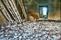 Ruined house detail in hdr dirty run down abandoned empty old room ruins high dynamic range photograph Stock Images