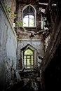 Ruined interior of an abandoned mansion of Khvostov in gothic style, Lipetsk reg Royalty Free Stock Photo
