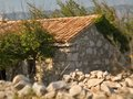 Ruined mediaeval sheppard cottage and stone fence in island krk croatia Stock Photos