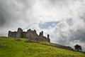 Ruined medieval castle landscape with dramatic sky Stock Photography