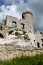 Ruined medieval castle with tower in Ogrodzieniec Stock Photo