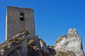 Ruined medieval castle with tower in Olsztyn Stock Photos