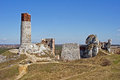 Ruined medieval castle with tower in Olsztyn Royalty Free Stock Image