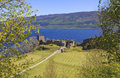 Ruined remains of urquhart castle in loch ness area the magnificently situated on the banks an impressive stronghold despite its Royalty Free Stock Image