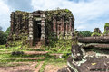 Ruined temple of the ancient champa at my son da nang vietnam this beautiful or tomb with carved picture shiva Stock Photos