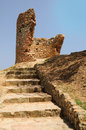 Ruined tower in resort city tossa de mar spain Stock Photo