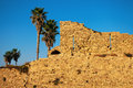 Ruined wall of ancient city caesarea in israel Royalty Free Stock Photos