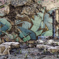 Ruined wall with graffiti Royalty Free Stock Image