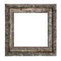 Ruined wooden frame with thick border isolated on white background Royalty Free Stock Photography