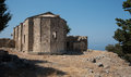 Ruins of an abandoned orthodox christian church exterior the monastery saint paraskeyi at the mountain pentadaktylos in the Royalty Free Stock Images