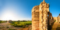 Ruins of agios sozomenos temple panoramic photo nicosia district cyprus Stock Photography