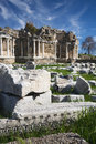 Ruins agora side library antalya turkey Royalty Free Stock Images
